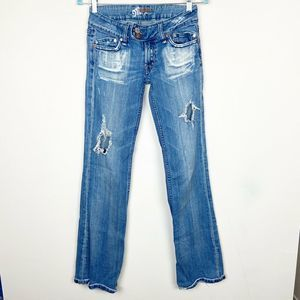 """MISS ME DISTRESSED BOOTCUT MID RISE 7"""" JEANS 27"""